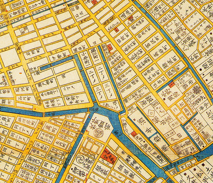 Old Map of Nihombashi Vicinity in Edo (old name for Tokyo)