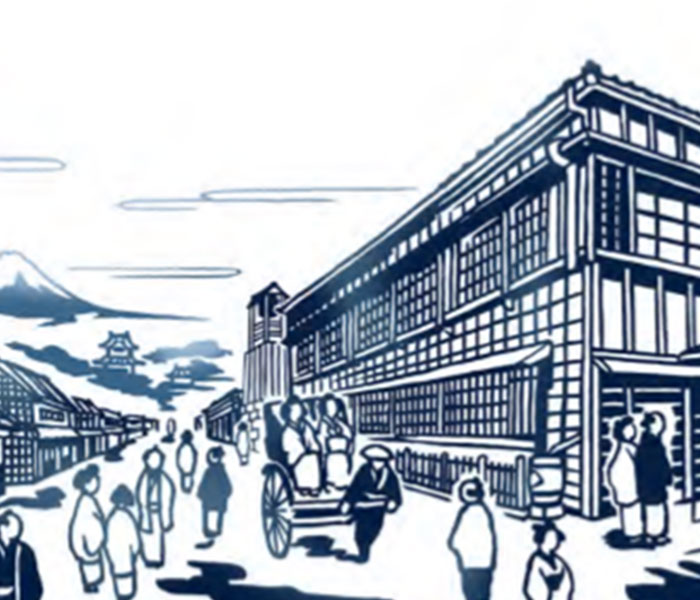Hongokucho Shindo road in the early Meiji period (conceptual illustration)